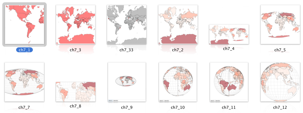 Images from Chapter 7 of D3.js in Action, which focuses on Geospatial Information Visualization.