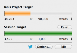 The ever-present Scrivener counter. I overachieved today, but don't worry - I'll underachieve tomorrow.